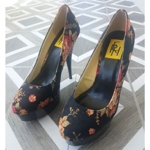 FHR Black Floral Pumps Heels Size 9